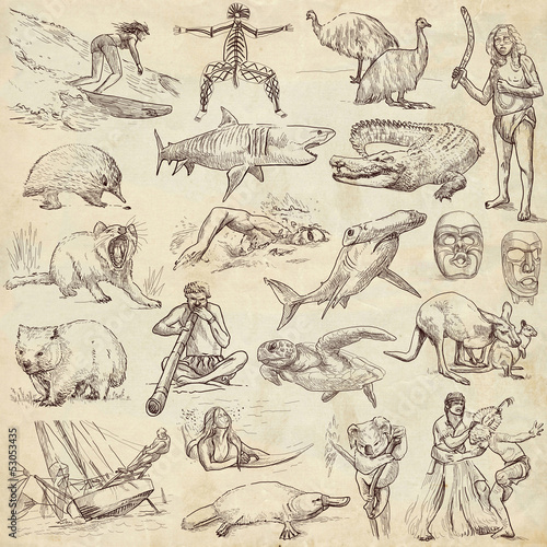 Australian collection - full sized hand drawings on old paper