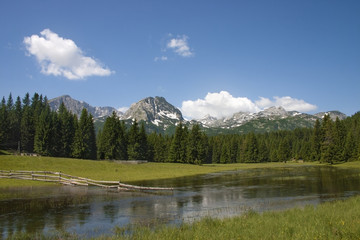 View to mountains in the national park Durmitor in Montenegro