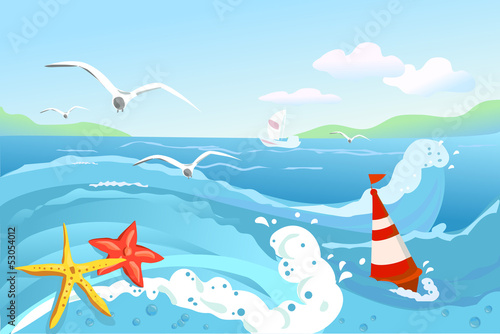 seascape, buoy and starfish