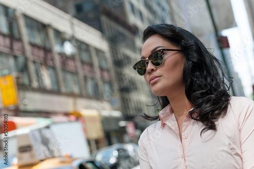 woman tourist in sunglasses in NYC