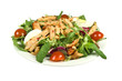 Salad with strips of spicy chicken on a white background.