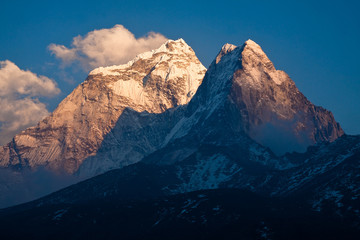 Mountain Ama Dablam (6814 m) at sunset. Himalayas. Nepal