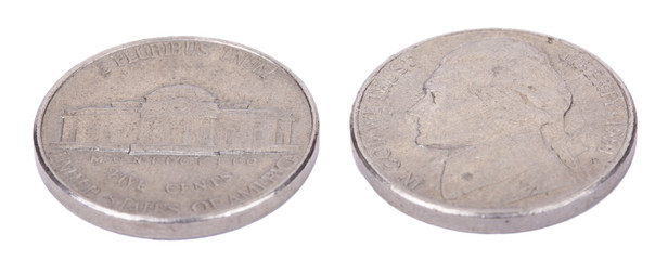 Isolated 5 Cents (Nickel) Coin Both Sides