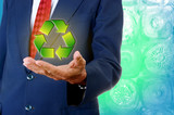 Senior businessman handheld recycle symbol, Sustainability busin poster