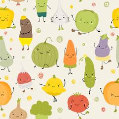 Cartoon Vector Illustration of Funny Vegetables Food