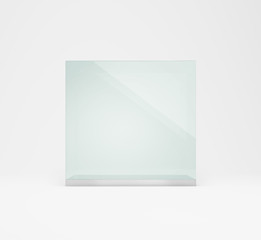 empty presentation glass box