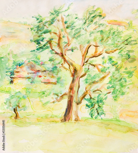 Watercolor Rural Summer Landscape