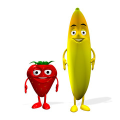 3d rendered of a strawberry and banana characters