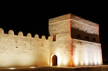 Entrance of Riffa fort at night, Bahrain