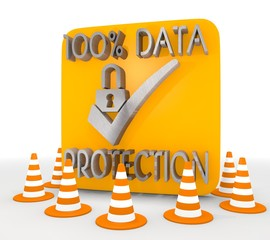 3d graphic of a decorative data protection icon