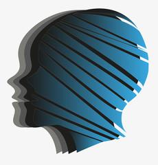 testa femminile stilizzata su sfondo bianco