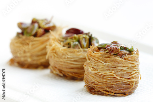 Delcious birds nest baklava with cashew & focus in front