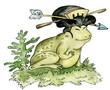 Cartoon character illustration of a frog - japanese geisha