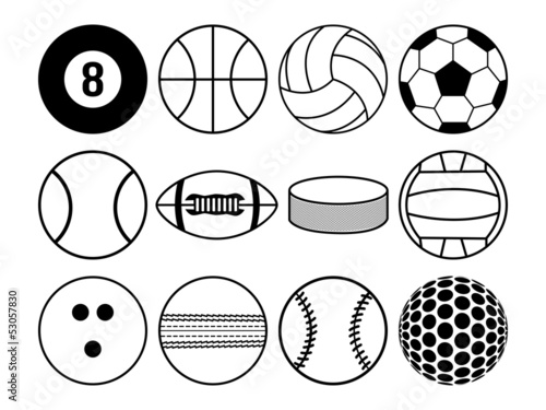 sports balls black and white