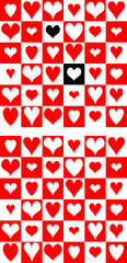 Combined heart chess pattern