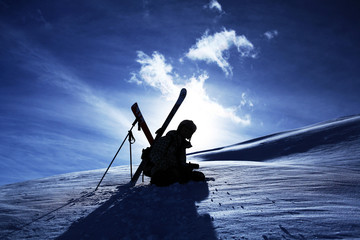 skiers silhouette