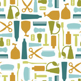 Seamless pattern with various toiletries