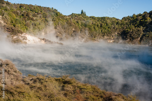 Echo Crater with Frying Pan Lake in Rotorua