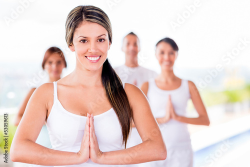 Woman in a yoga class