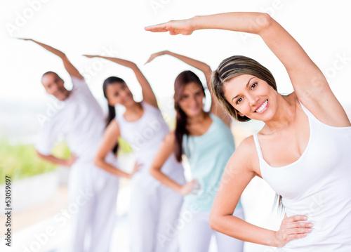 Group of yoga people
