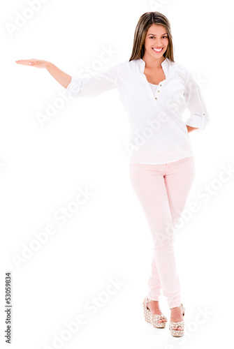 Woman with hand extended