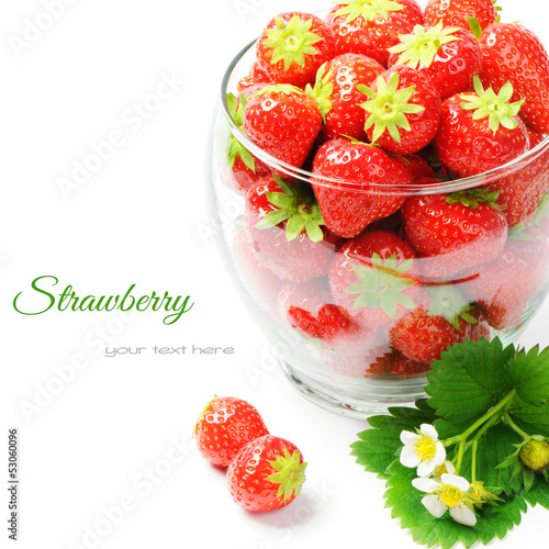 Fresh strawberries isolated over white