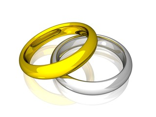Wedding Rings - Yellow And White Gold