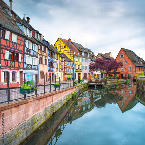 Colmar, Petit Venice, water canal and houses. Alsace, France. - 53060890
