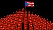 pyramid of men with rippling Puerto Rico flag animation