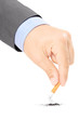 Male hand quitting smoking cigarette