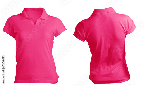pink women's polo shirt template, front and back