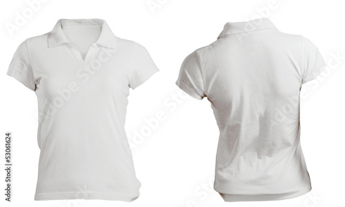 white women's polo shirt template, front and back