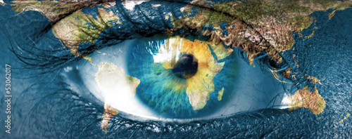 "Planet earth and blue hman eye - ""Elements of this image furnish"