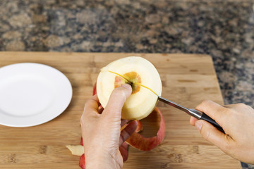 Cutting Apple in Half with Paring Knife