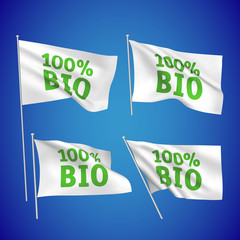 100 percents bio - white vector flags