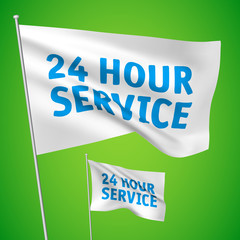Twenty four hour service - white vector flags