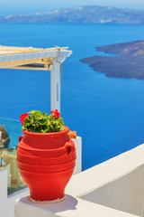 Greece Santorini island in Cyclades, traditional detail sights o