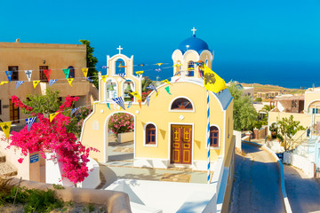 Greece Santorini island in Cyclades,wide view of white orthodox