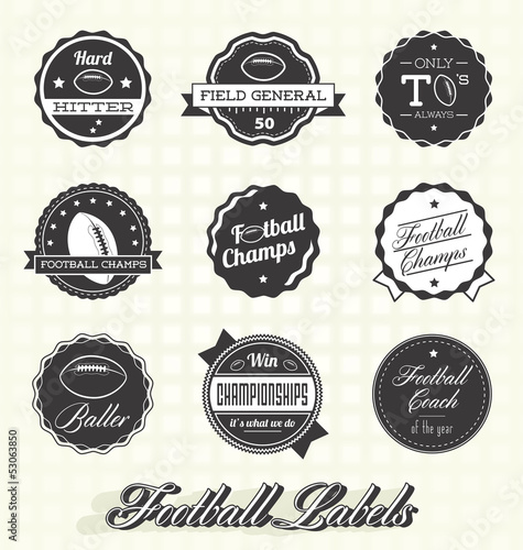 Vector Set: Retro Football Champs Labels