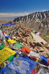 Tibetan flag at Khardungla Pass (The highest road in the world),