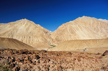 Beautiful scenic view of Leh valley, Ladakh range, Jammu & Kashm