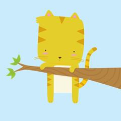 Cat Stuck on a Branch