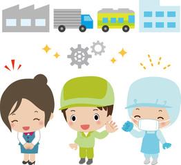 工場と工場で働く人たち