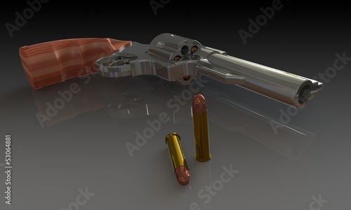 a gun and bullets isolated