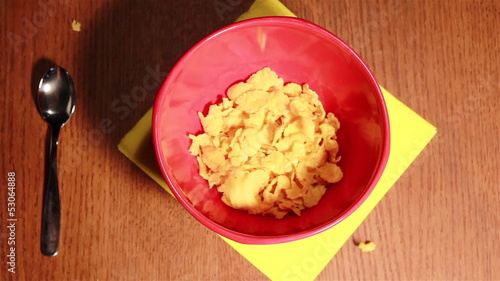 Useful breakfast with corn flakes and milk