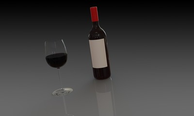 Bottle of red wine and glass isolated dark background