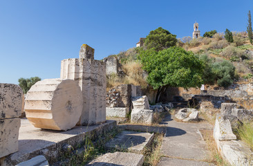 Ruins in the archaeological site of Eleusis, Attica, Greece