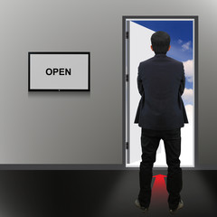 Open Door with open text and businessman
