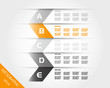 orange transparent zig zag infographics with letters