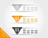 orange transparent three triangular infographic stickers